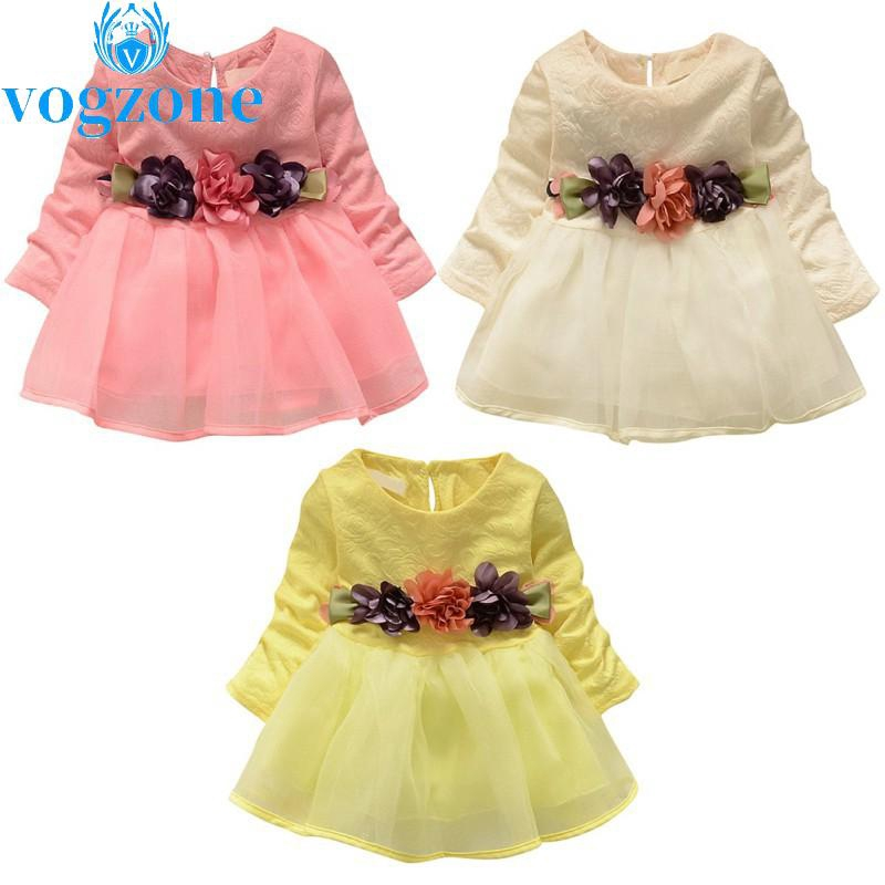 5678aea025ee Kids Girl Autumn Round Neck Long Sleeve Floral Mesh Princess Party Evening  Dress