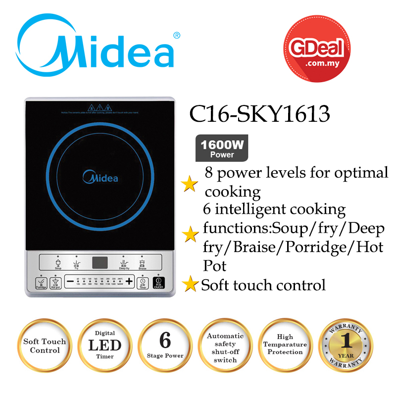 GDeal Midea C16-SKY1613 1600W Induction Cooker With Soft Touch Control