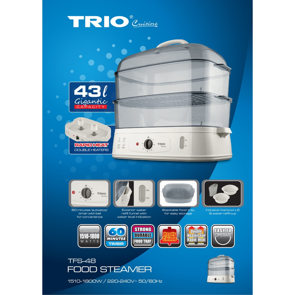 TRIO Food Steamer TFS-48 Gigantic Capacity (43L) Periuk