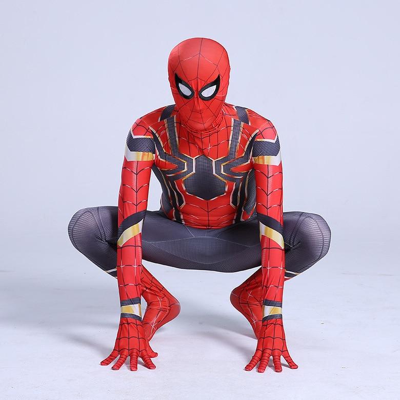 Christmas Party Boy Iron Spiderman Costume Kids Superhero Cosplay Party Bodysuit