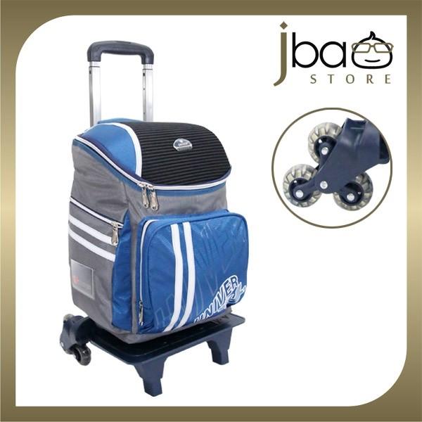 Univer 6 Wheels Trolley Kid School Bag Lightweight Backpack (Dark Blue)