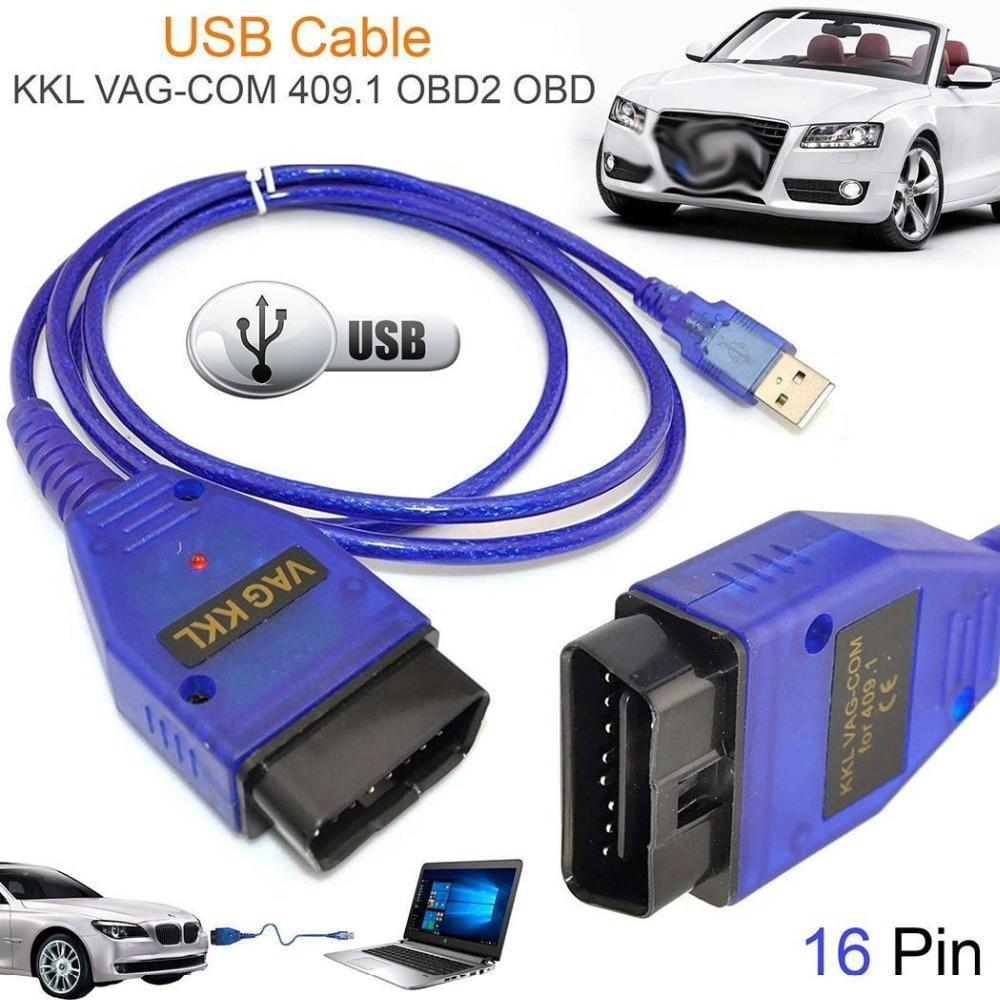 Car Auto USB VAG-COM Interface Cable KKL 409 1 OBD2 II OBD