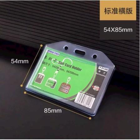 Soft PVC Card Holder Transparent Horizontal Badge ID Card Holder T-014V