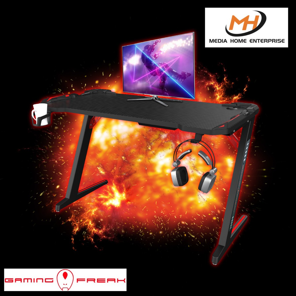 Gaming Freak Gaming Desk GF-GDB02RGB-BK - RGB Light, Stable Supporting Structure, Headphone Holder, Cup Holder