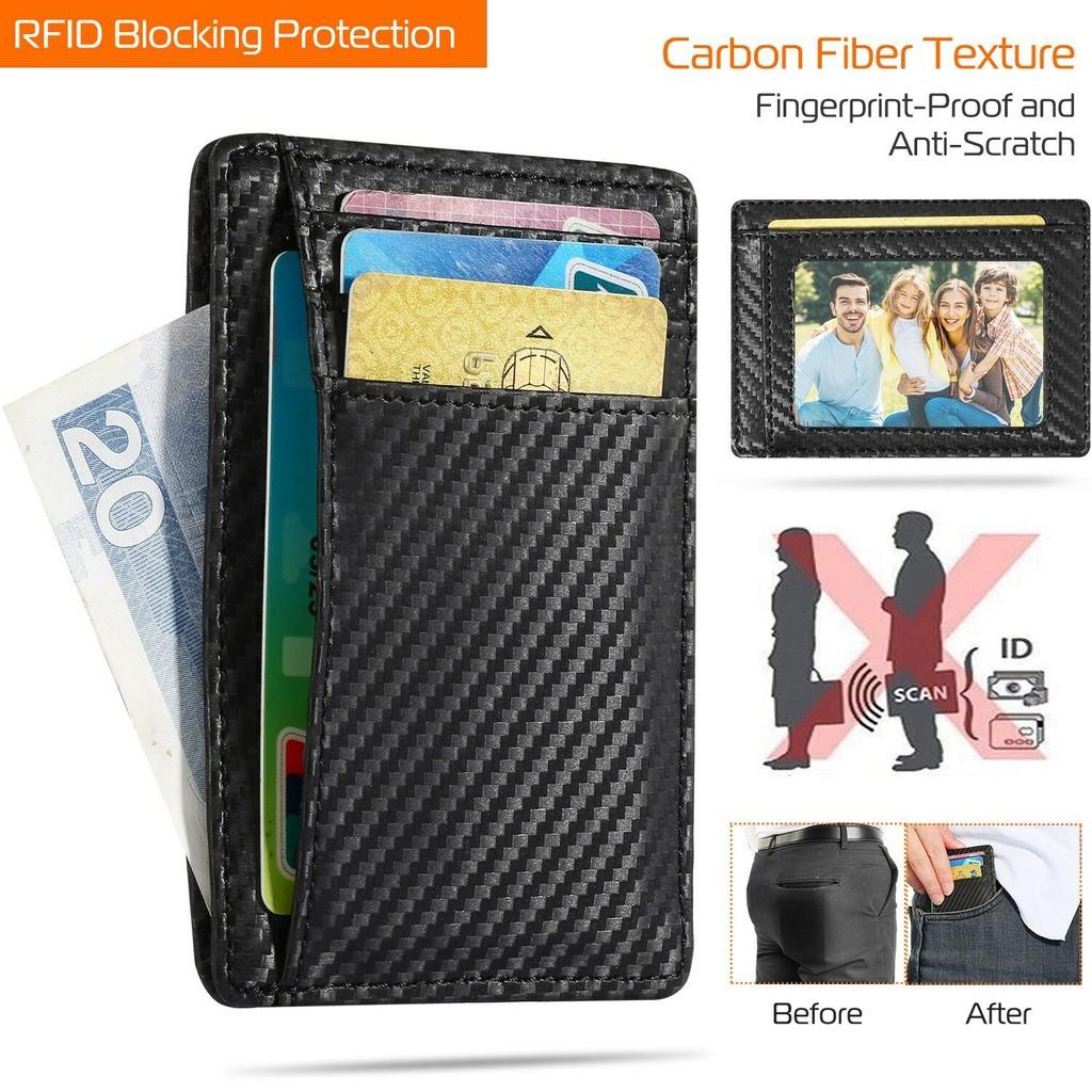 Women Men ID Credit RFID Leather Card Holder Business Pocket Case Purse Wallet