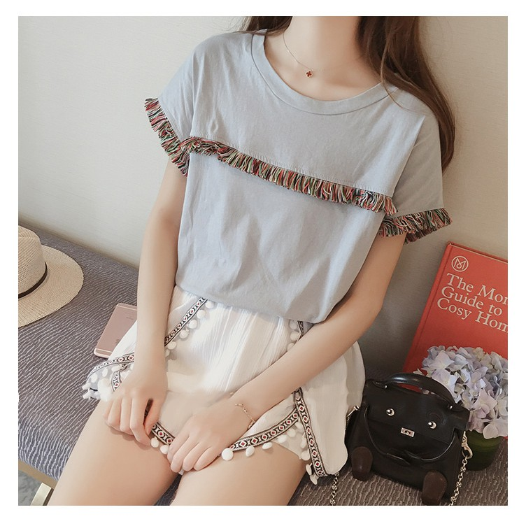 Gray tassels short sleeve tee shirt (ready stock)