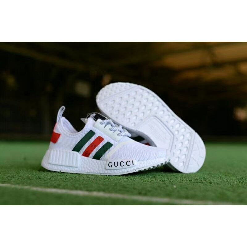 new product 69672 e81c3  ready stock original Adidas nmd x gucci white black bee women men running  shoes   Shopee Malaysia