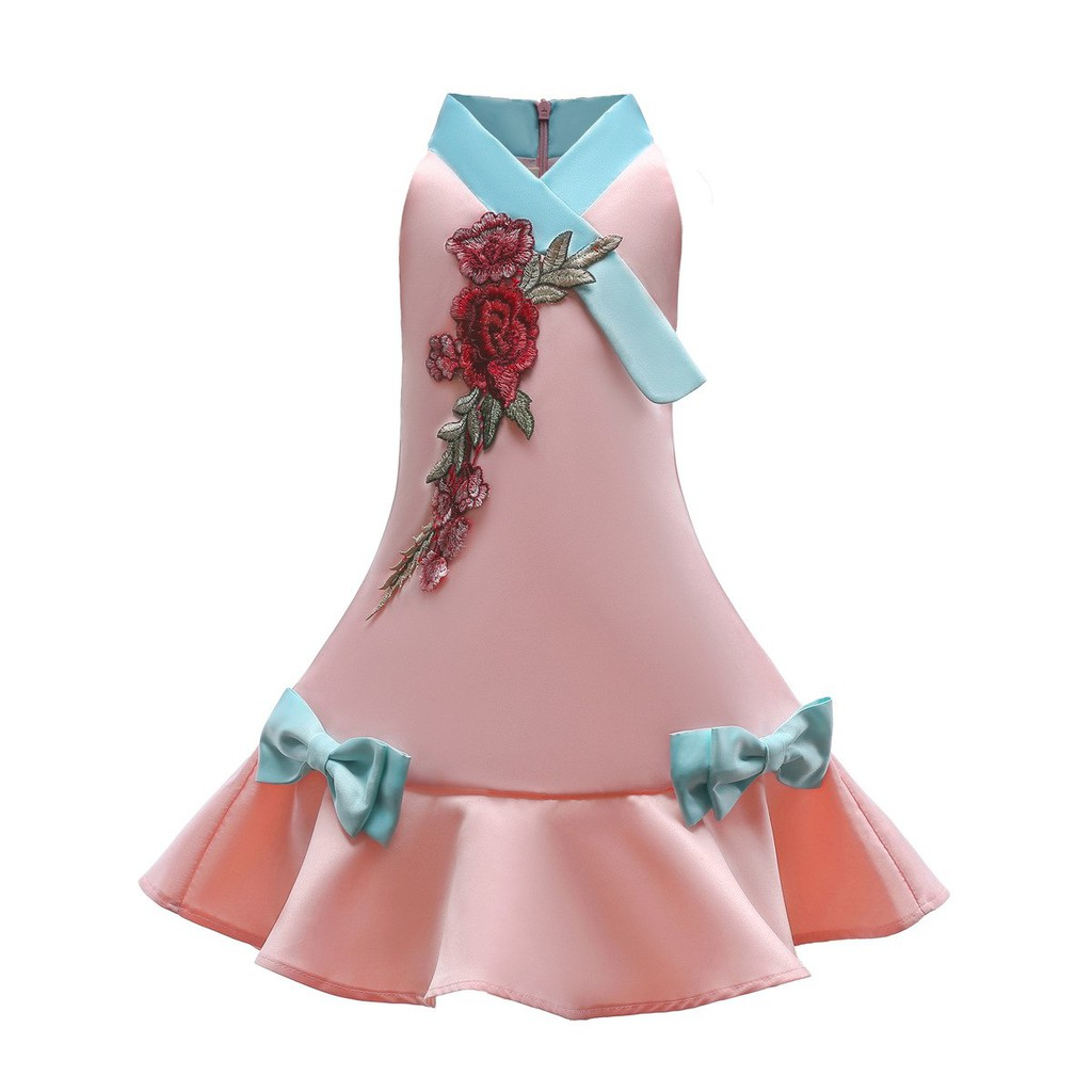 Mylilangelz KC2462 Tong Tong Mi Party Dress - Floral Patch Ruffle Skirt (READY STOCK)