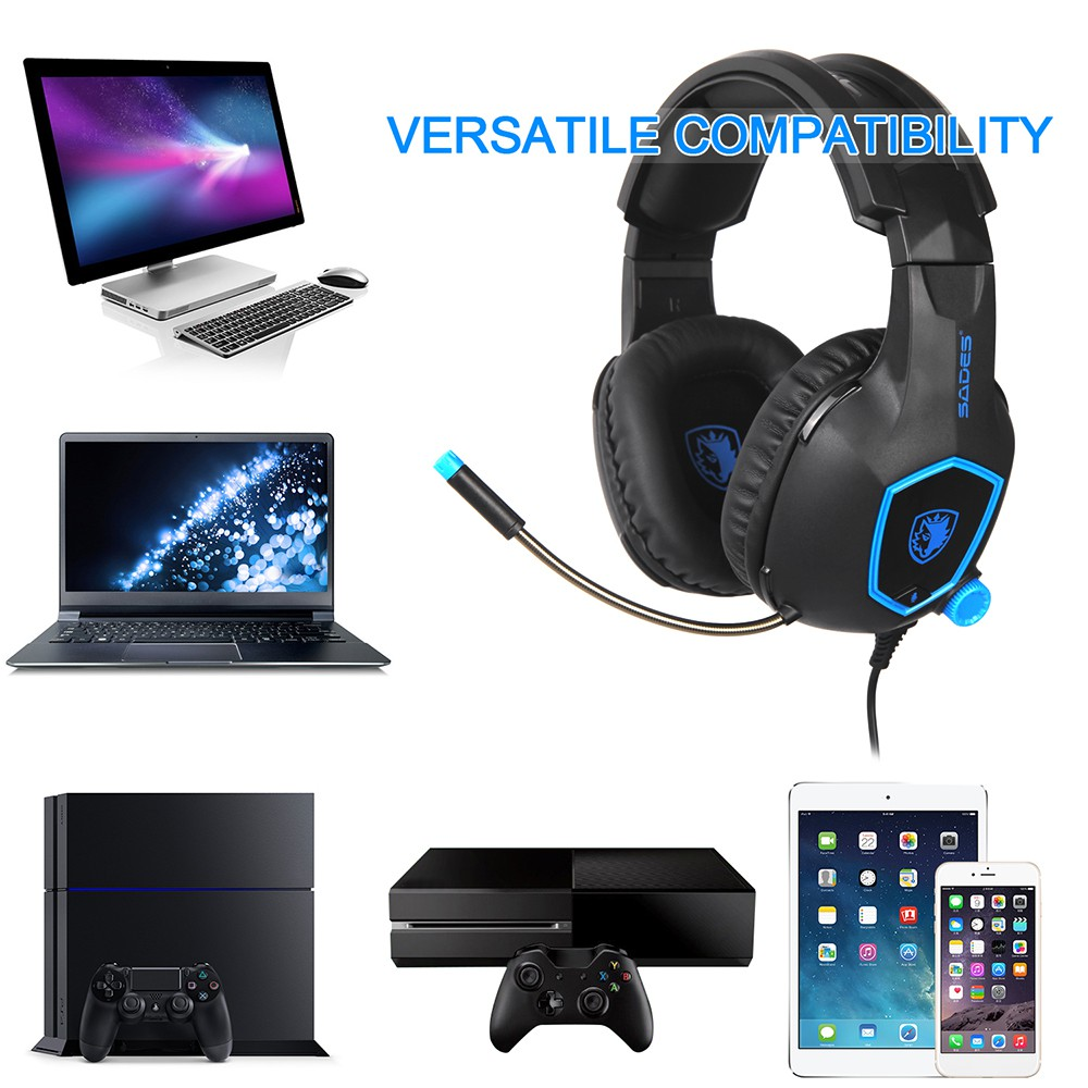 68cc675be68 ProductImage. ProductImage. SADES SA-818 3.5mm Wired Gaming Headsets Over  Ear Headphones Noise Canceling Ear