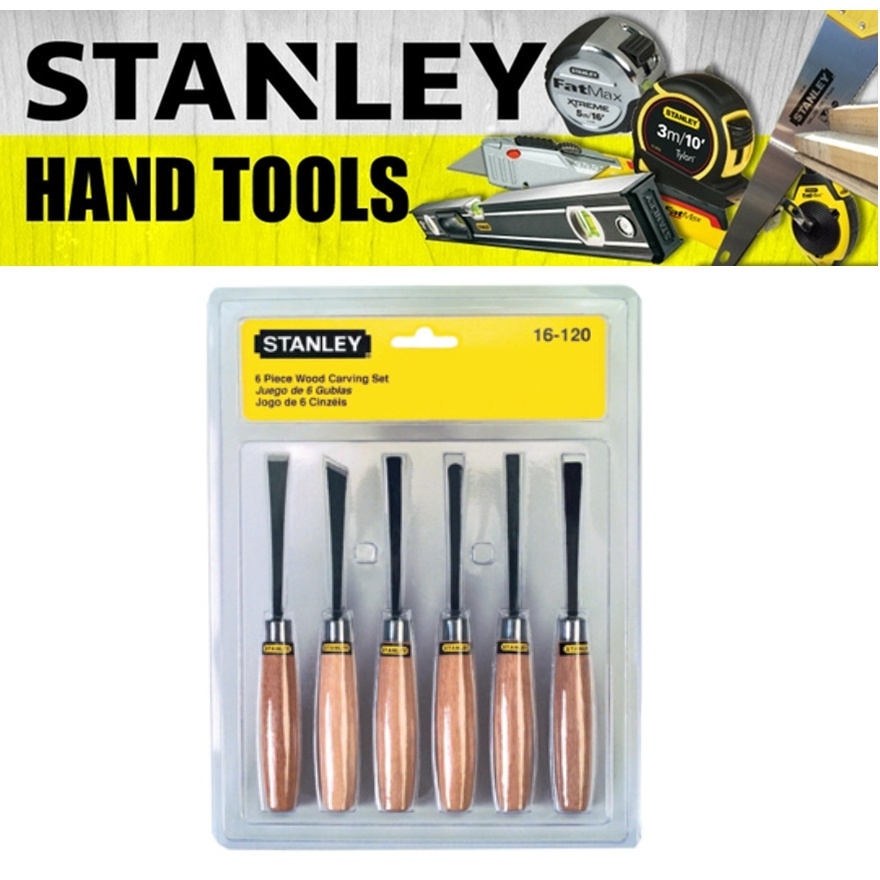 STANLEY 6 PIECE WOOD CRAVING SET 16-120 SQUARE & SKEN CHISEL, CURVED & STRAIGHT GOUGE, CURVED FLAT, CURVED U TOOL