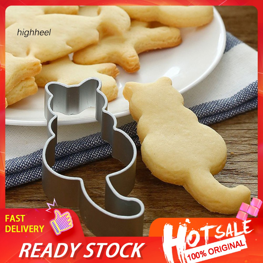 EG/_ Cute Cat Stainless Steel Baking Cake Mould Chocolate Cookies Cutter Mold Nov