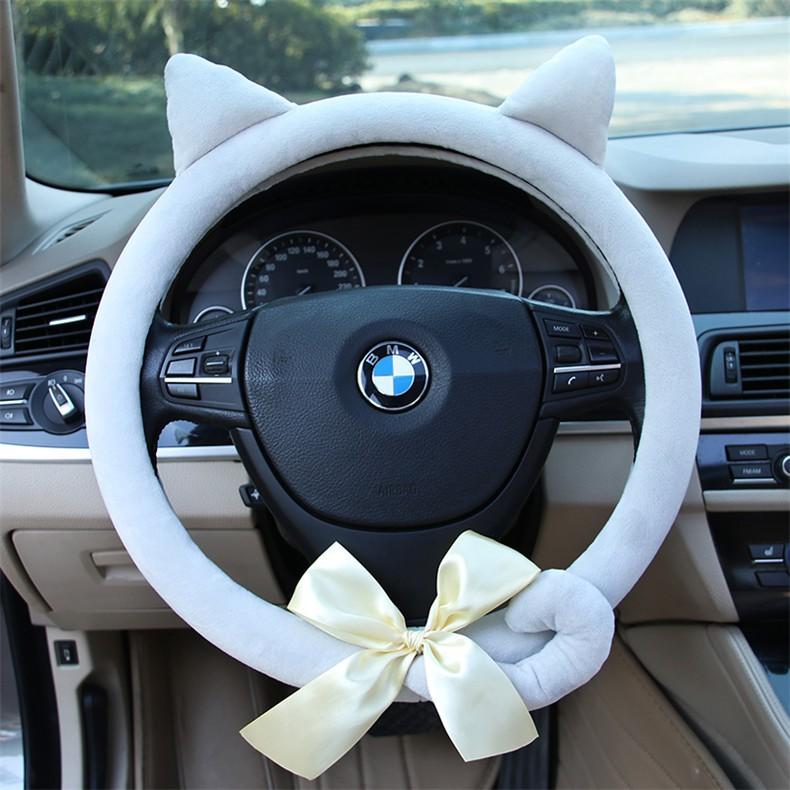 H Winter Short Plush Car Steering Wheel Cover Cute Animal Pattern Steering Covers