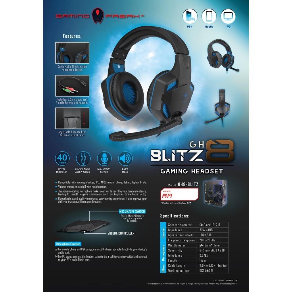 GAMING FREAK GH8-BLITZ GAMING HEADSET GH8 BLITZ PC CPU COMPUTER HEADPHONE Extra Bass Top High-Quality Sound