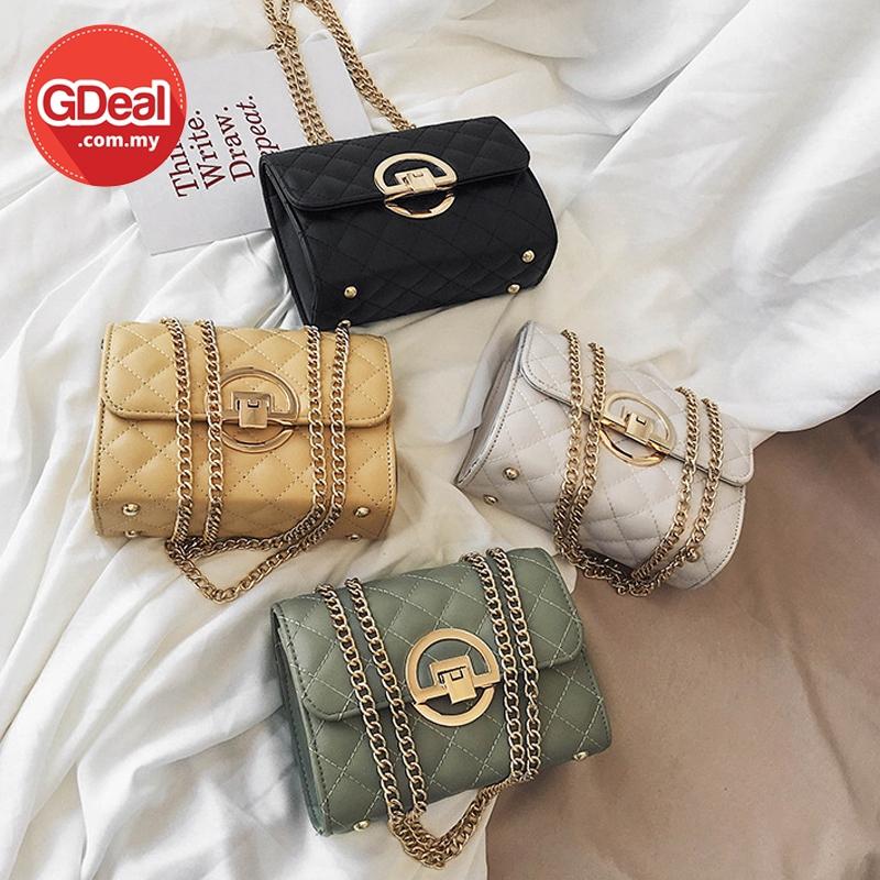 GDeal High Sense Ins Women Bag New Fashion Messenger Bag Wild Texture With Gold Strap Beg Wanita بڬ وانيتا