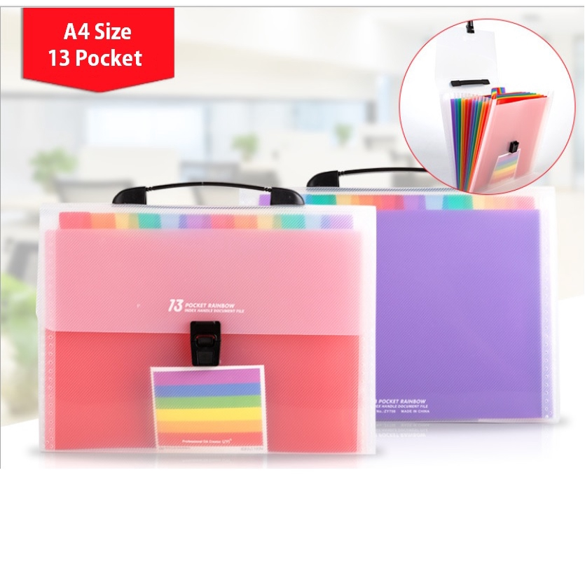 Waterproof Portable Office Large Capacity Plastic Colored Paper Document Organizer 24 Pockets Expanding File Folder with Cover Acordian File Organizer A4 Size File Box