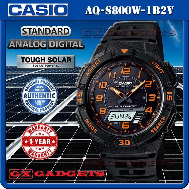 5e3635237e7 CASIO AQ-S800W-1B2V STANDARD ANALOG DIGITAL WATCH TOUGH SOLAR WORLD TIME  WR100M