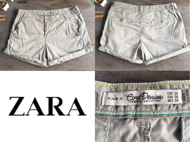 2sis1bro แบรนด์แท้ Zara Core Denim กางเกง คาร์โก้ ขาสั้น มือสอง พร้อมส่ง sz US 6 Eu