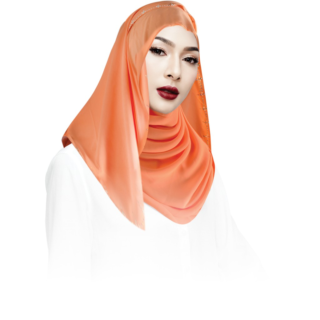 Sawks Hijab Long Shawl Decorated with Rhinestone - Design 11