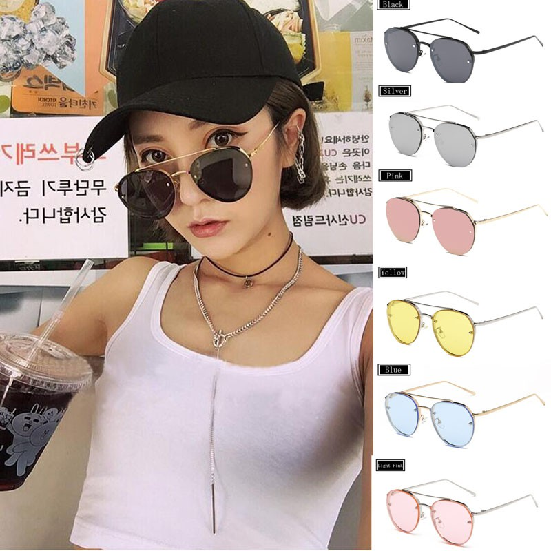 38f240fb1 ProductImage. ProductImage. Clear Lens Round Sunglasses Women Men Vintage  Double Beam Rimless Mirror