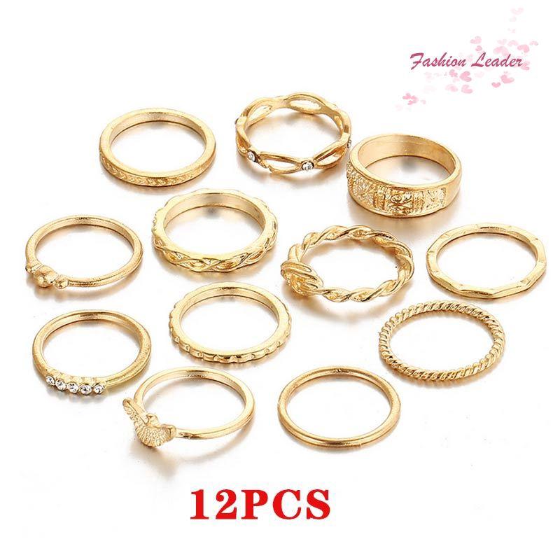 91ae12d8ffd26 ⚡⚡12pcs/Set Women Trendy Alloy Knot Flower Midi Mid Above Knuckle Finger  Ring Set