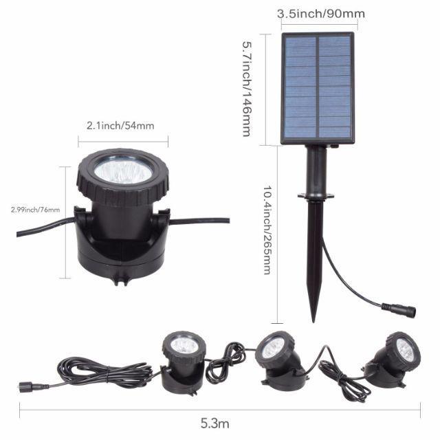 [ READY STOCK ]  Solar 3 RGB Flood Light Underwater Waterproof Garden Pool Spotlight Lamp Pelita Lampu Raya Jualan Murah