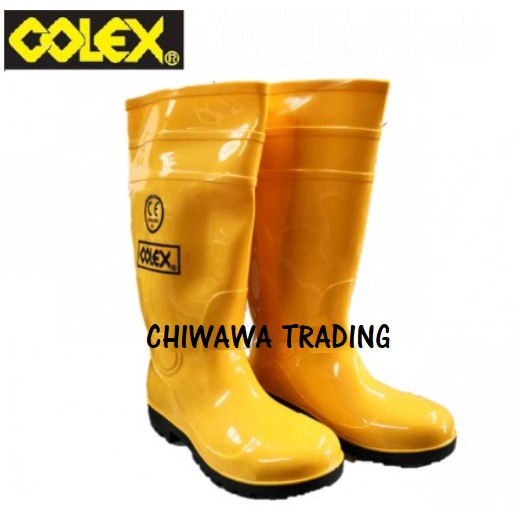 COLEX PVC Yellow Safety Rain Boots Plastic Kasut Kuning