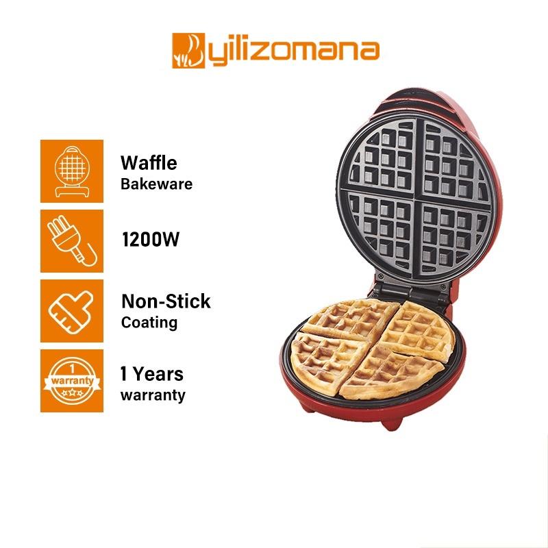 Yilizomana Waffle Maker Machine 20CM Electric Non-Stick Mold Pancake Bakeware Pan (1200W)