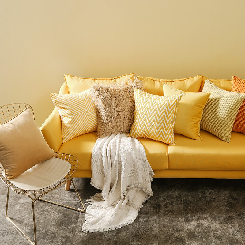 Mowen Yellow Pillow Sofa Cushion Living Room Warm Color Bed Backrest Pill