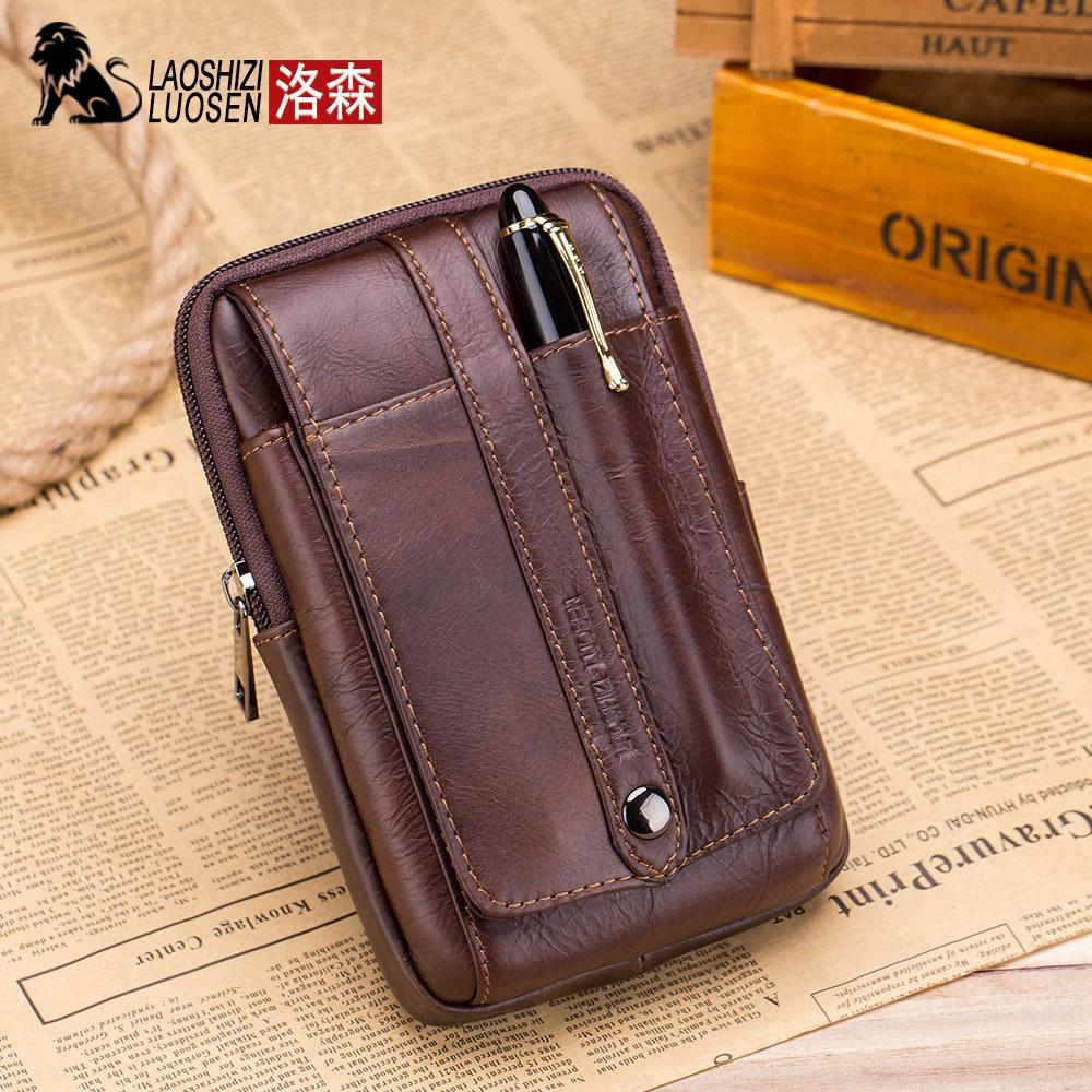 5edeeee5b4fd3 LAOSHIZI Genuine Leather Men Pocket Belt Bum Pouch Pack Travel Small Bag |  Shopee Malaysia