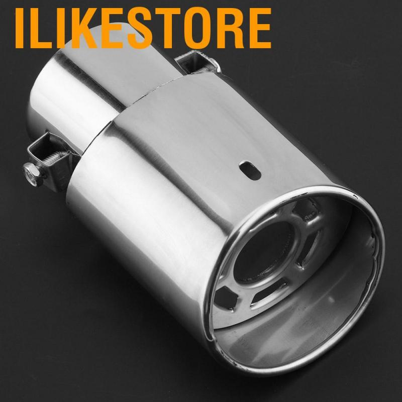 Aramox Universal Car Straight Exhaust Pipe Rear Muffler Tip Tail Throat Stainless Steel Car Exhaust Tips Pipe Glossy Silver