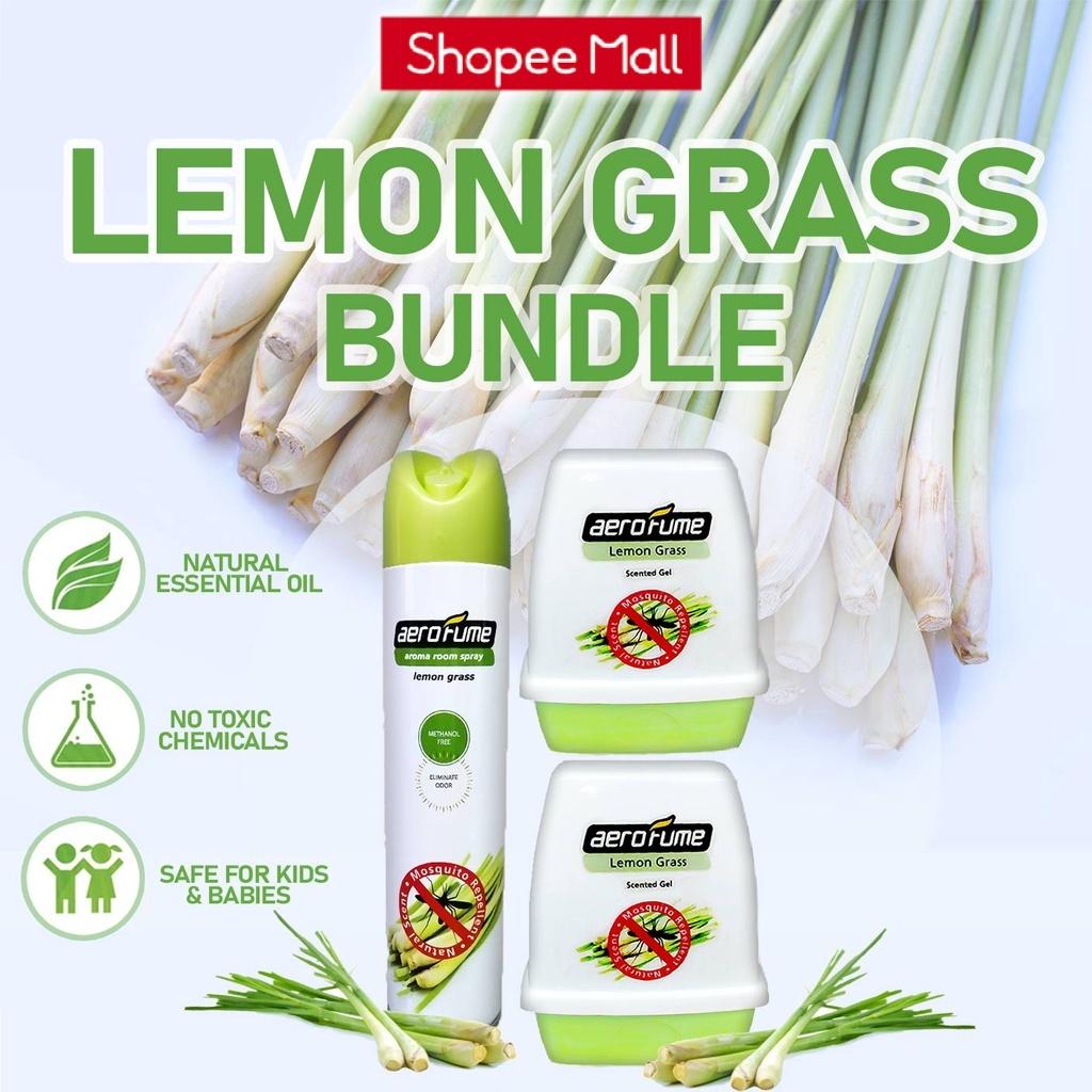 Mosquito Repellent Lemon Grass Scented Gel (180g x 2) + Lemon Grass Room Spray (320ml x 1) Pewangi Serai Nyamuk