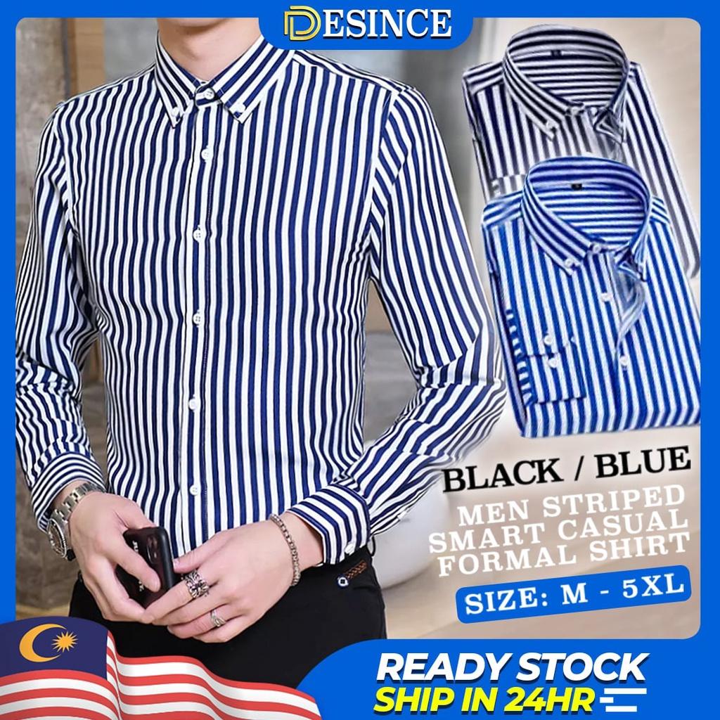 🇲🇾READY STOCK😎 Men Stripe Long Sleeve Shirt Formal Casual Top Office Business Baju Kemeja Stripe Line Plus Size MT 064