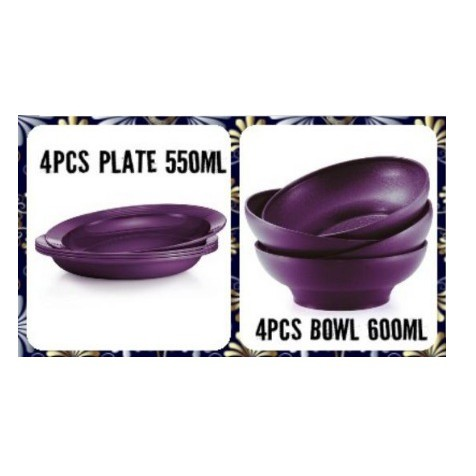 Ready Stock✅Tupperware Purple Royale Deep Plate OR Bowl set OR Open House Plate (4) / Bowls (4)