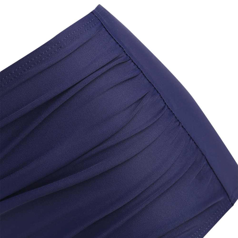 Feather Leaf Flounce Ruched Tankini Set (Cobalt Blue)