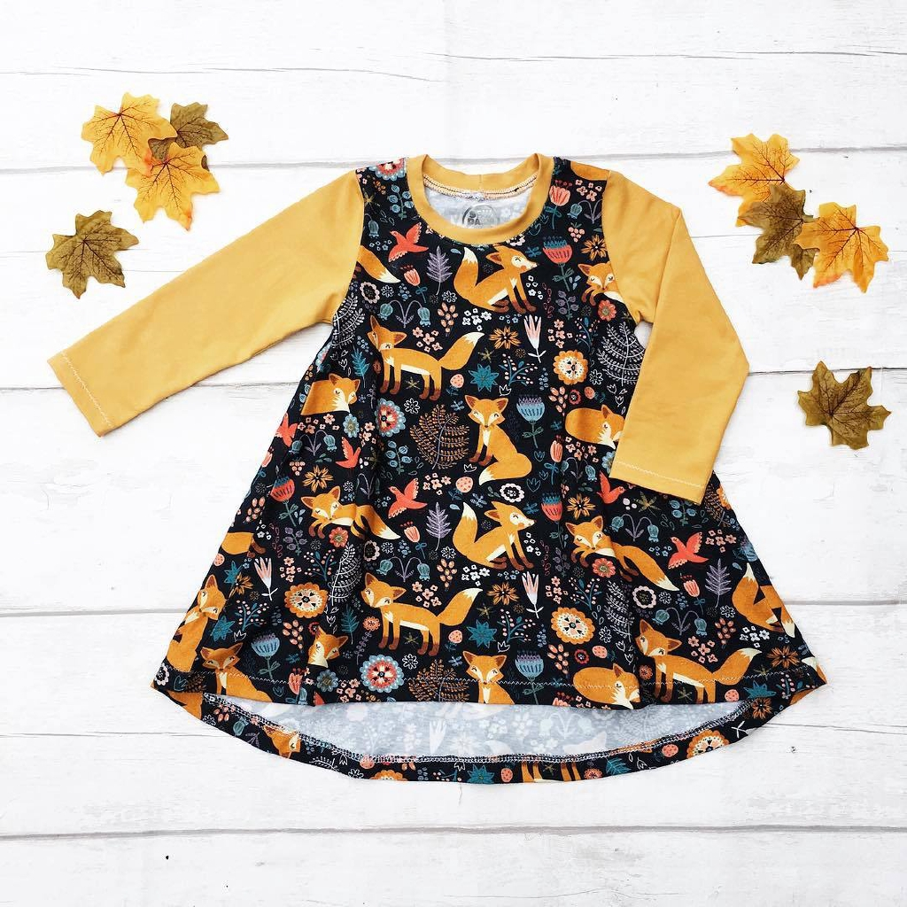 Kid Baby Girls Cartoon Fox Print Long Sleeve Princess Loose Dress Clothes Outfit