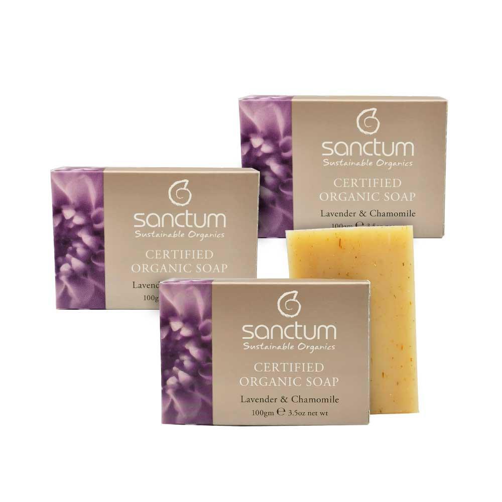 SANCTUM TRIPLE ORGANIC LAVENDER BODY SOAP SET- (3) Lavender & Chamomile Body Soap 100g For Daily Mild Exfoliation