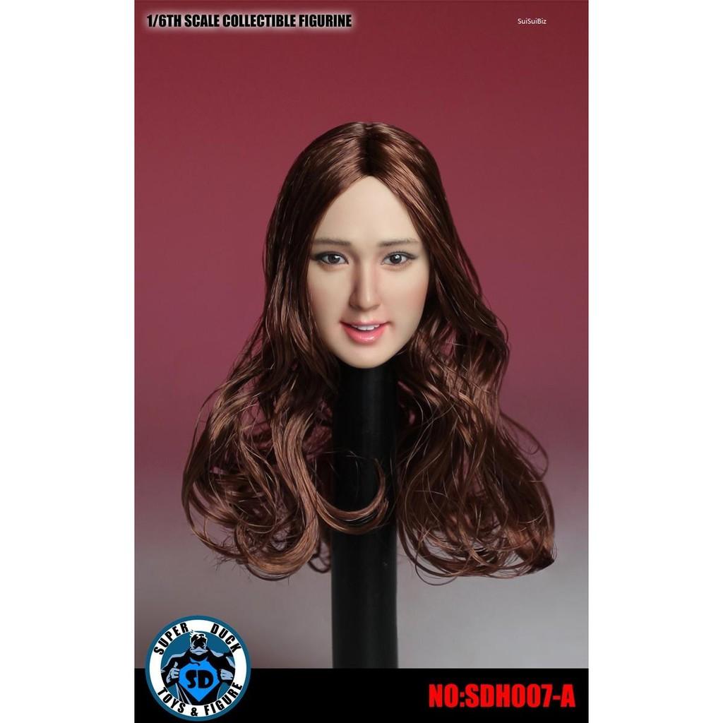"Super Duck SDH007C 1//6 Straight Black Hair Head Sculpt F 12/"" Female Figure Body"