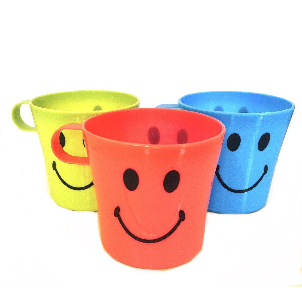 Colorful Smiling Face Plastic Water Coffee Tea Cup 4pcs / set