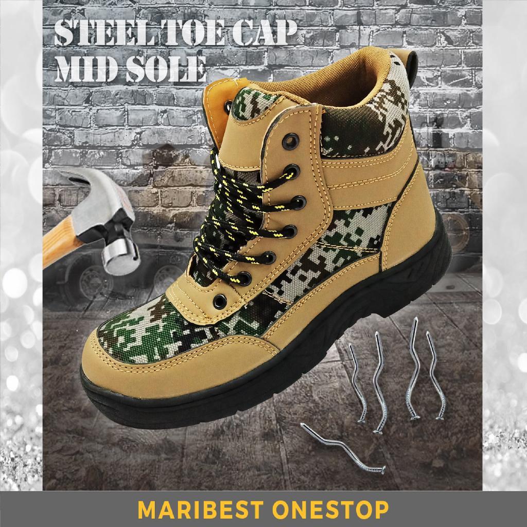 bb0065eddd2 Steel Toe Cap Midsole Medium Cut PU Sole Velvet Camouflage Military Safety  Shoe Safety Boots