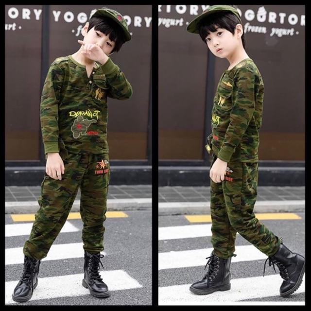 ชุดเด็กขายาวลายทหาร *พร้อ
