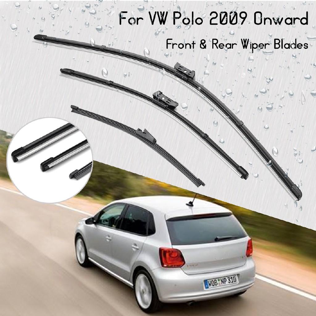NEW Pair Windscreen Wiper Front Rear For VW Polo 2009-2014 Hatchback 3/5  Door