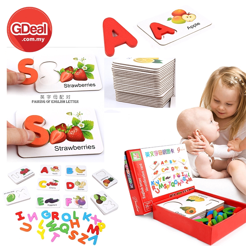 GDeal Children Vegetable And Fruits English Letter Identification Wooden Card Early Education Baby Learning