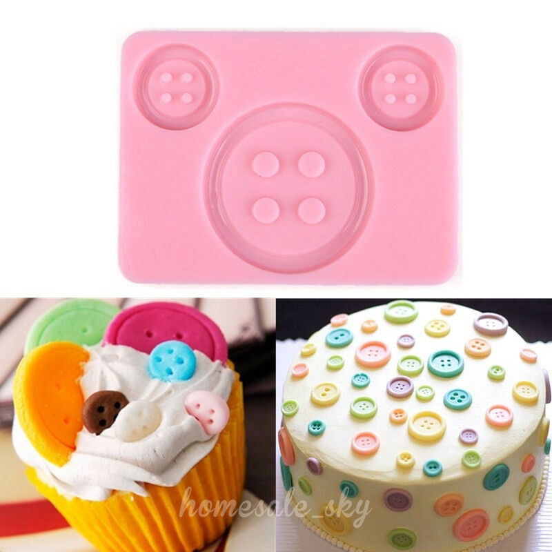 Button Silicone Fondant Icing Chocolate Mold Cutter Baking Tool Sugarcraft Decor