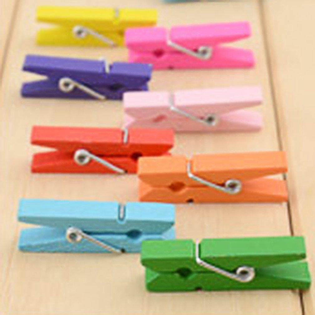 20Pcs House Wooden Photograph File Spring Clamp Clothespins Assorted Color