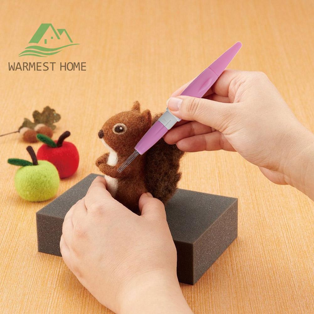 Mini Needle Felting Handle Holder with 3 Needles for Wool Felt Embroidery Tool