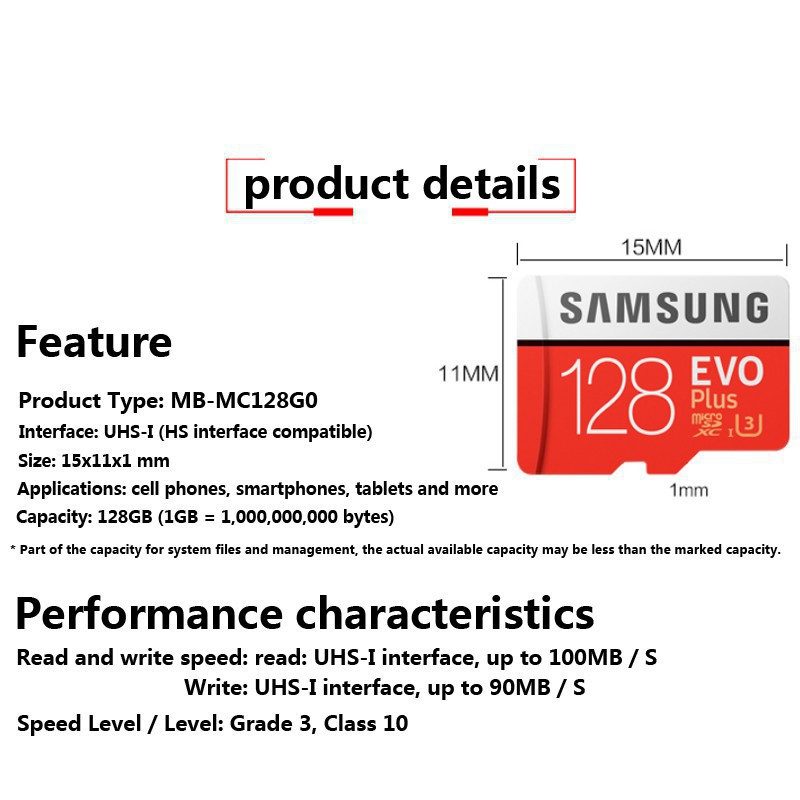 Samsung 128GB 64GB EVO Plus U3 CL10 Micro SD Memory Card MIcroSD 100MB/S H3