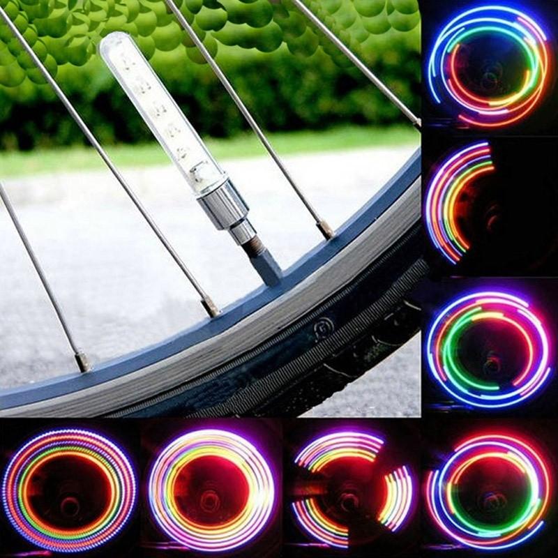Bike Bicycle Car Motorcycle Wheel Tire Valve Stem Cap Neon LED Lights Lamp LOT