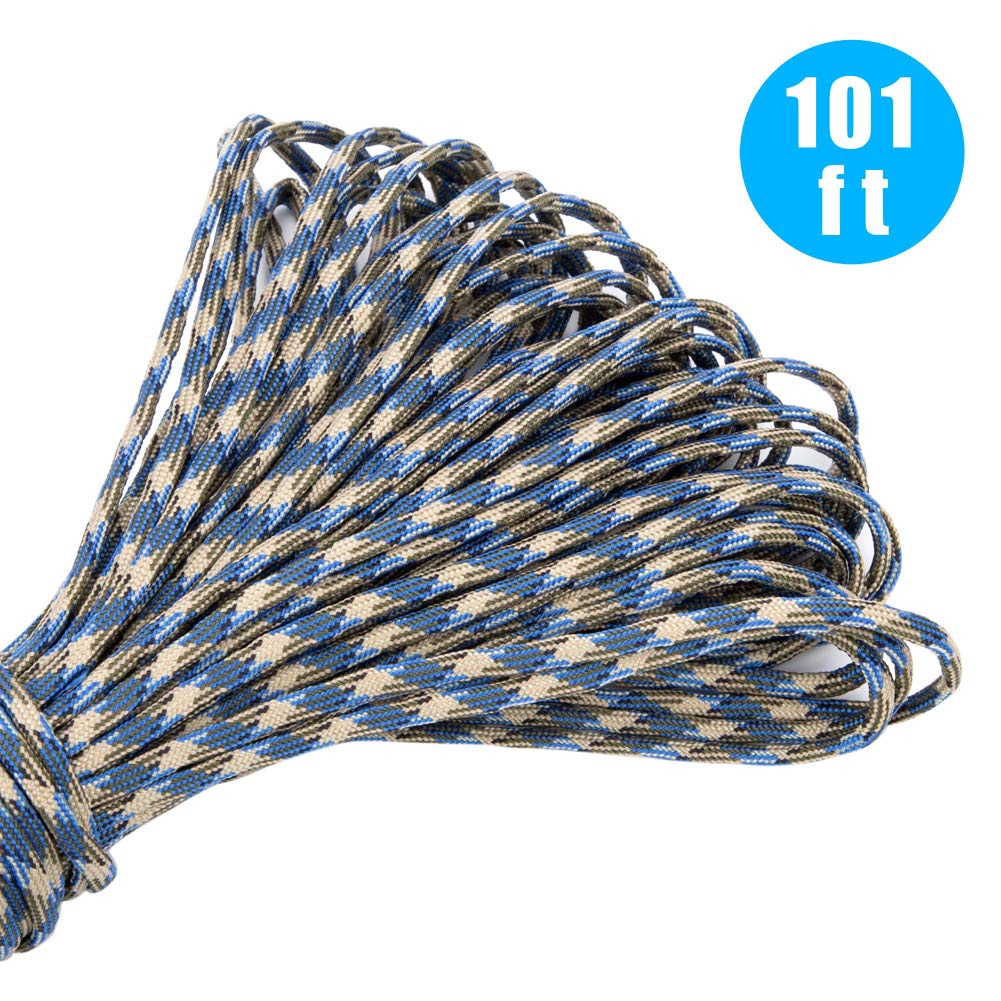 101Ft Paracord Rope and 24 Pcs Paracord Buckles Contoured Side Release Strong Clips Outdoor Survival Rope Set for Making Monkey Fist,lanyards,Keychain,Carabiner,Dog Collar Paracord Bracelet kit