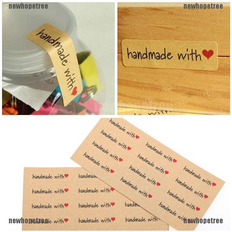 120PCS Hand Made with Love Paper LabelsSticker Seal Stickers forGiftPackaging SZ