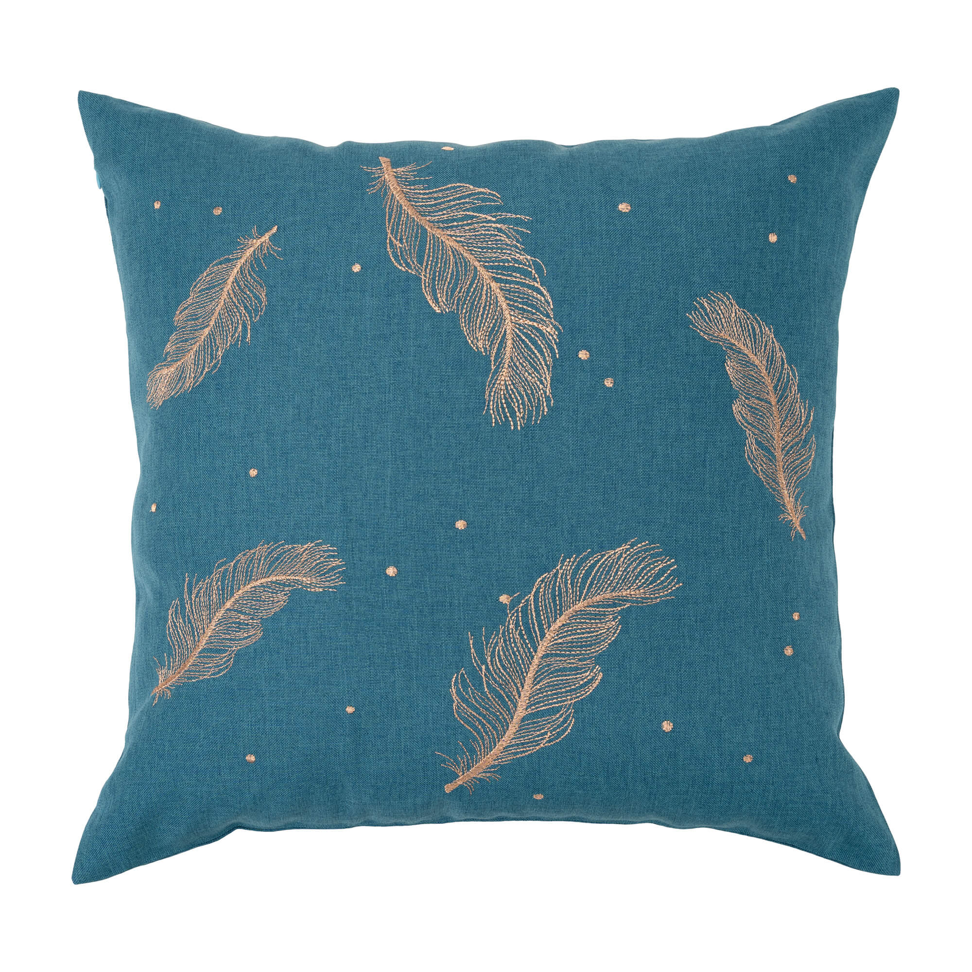 """Feathers Embroidery Cushion Cover/Throw Pillow. Easy Care Cation Fabric. 45x45cm/18x18"""" (Peacock Green And Gold)"""